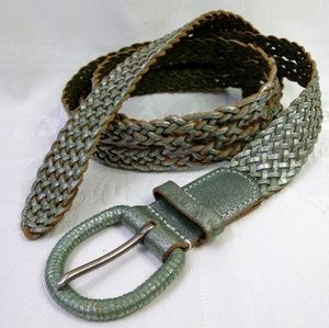"45"" Chico's Leather Braided Belt Green Shimmer"